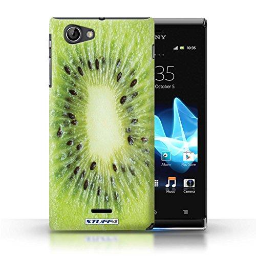 Kobalt® Imprimé Etui / Coque pour Sony Xperia J (ST26i) / Fraise conception / Série Fruits Kiwi