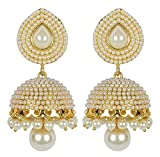 Shining Diva Stylish White Pearl Jhumki ...