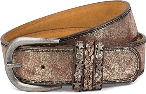 styleBREAKER Gürtel im Vintage Look mit Schmuckband an der Schließe, Ziehrnähte, Nieten, Strass, kürzbar, Unisex 03010062, Farbe:Antik-Gold;Größe:95cm