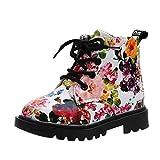Stiefel Kinder, Sunday Mädchen Mode Floral Kinder Schuhe Baby Martin Stiefel Casual Kinder Stiefel Baby Mädchen Jungen Lauflernschuhe Sneaker (29, Weiß)