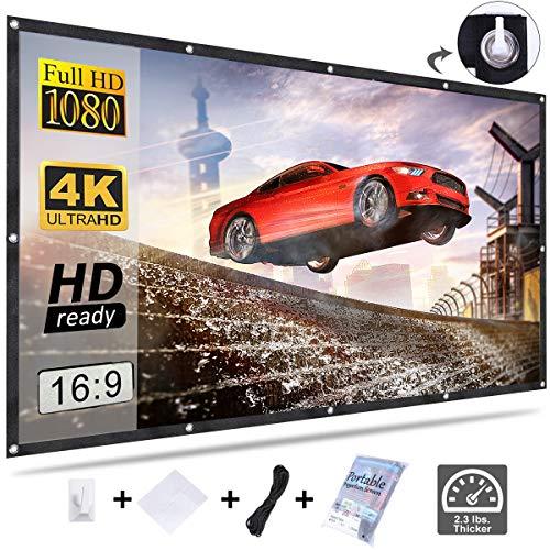 KPCB Beamer Leinwand 16: 9 227X131cm HD 4K Faltbarer Faltenresistent, geeignet für Heimkino und Außenfilm (100 Zoll)