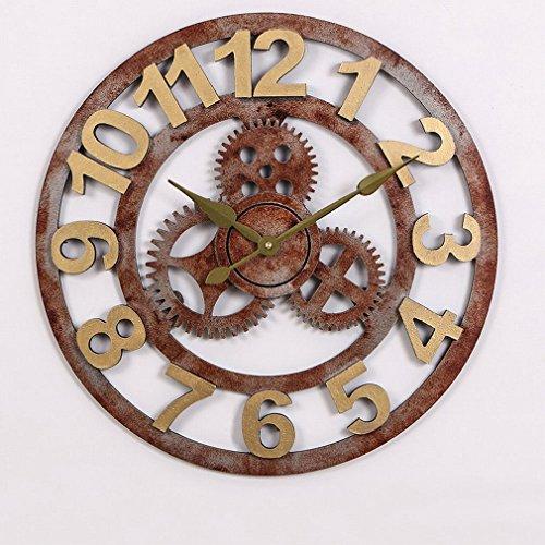 MKKM Gear Holz Stille Kreative Dreidimensionale Glocke Uhr,Rostig,3 Zoll (Zeiger Silhouette)