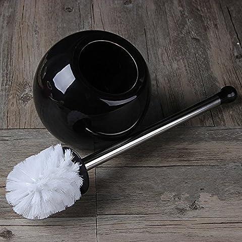 Stylish Minimalist Ceramic Toilet Brush Sets Long Handle Decontamination Bathroom Products,Black