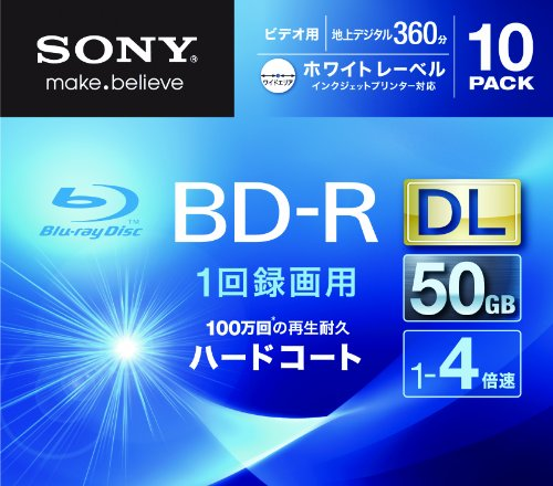 Sony Blu-ray Disc 10 Pack - 50GB 4X BD-R DL White Inkjet...