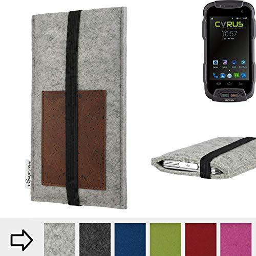 für Cyrus CS 23 Handyhülle Case SINTRA mit Kartenfach (Braun) und Gummiband-Verschluss (schwarz) - maßgefertigte Smartphone Tasche Schutz Hülle aus 100% Wollfilz (hellgrau) für Cyrus CS 23