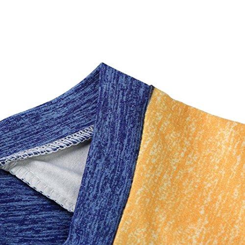zahuihuiM-Femmes manches longues décontracté Tops Sweatshirt col rond plaine lâche T-shirts Blouse Bleu
