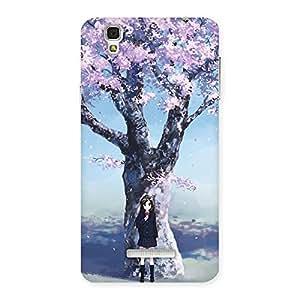 Gorgeous Cherry Blossom Girl Back Case Cover for Yu Yureka