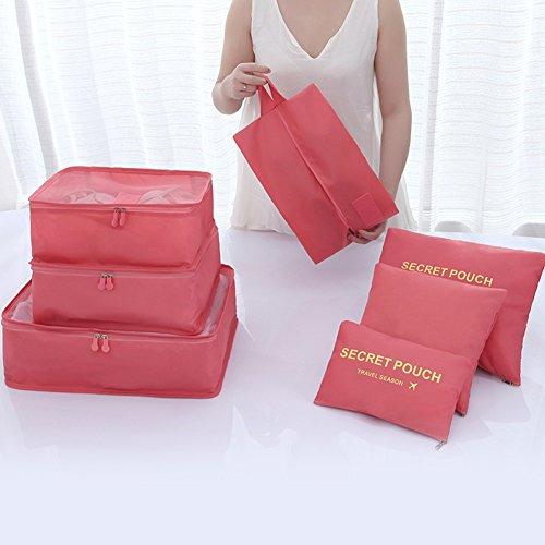 Belsmi Reise Kleidertaschen Set 7-teilig Reisetasche in Koffer Reisegepäck Organizer Kompression Taschen Kofferorganizer Mit Schuhbeutel (Dunkelblau) Lila