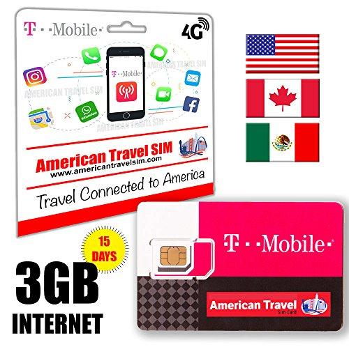 Prepaid-SIM-Karte - 3GB DATA 4G LTE für USA, Canada & Mexiko - Unbegrenzte Anrufe und internationale SMS (15 Tage)