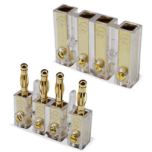 UC-Express 4-Fach Bananenstecker Steckverbinder 24k vergoldet Kupplung Kabel Stecker Verbinder für Kabel bis 6mm²
