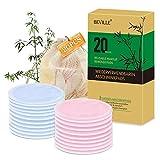 Waschbare Abschminkpads   20 Stück 3-Lagen Wiederverwendbare Bio-Bambus & Baumwolle Wattepads mit Wäschesack   Für Alle Hauttypen   BEVILLE Makeup Entferner Pads   Umweltfreundlich