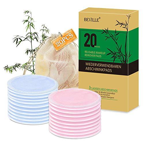 Waschbare Abschminkpads | 20 Stück 3-Lagen Wiederverwendbare Bio-Bambus & Baumwolle Wattepads mit Wäschesack | Für Alle Hauttypen | BEVILLE Makeup Entferner Pads | Umweltfreundlich