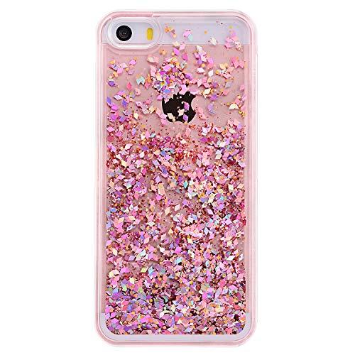 iPhone 5S Fall, tipfly iPhone 5Glitzer Schutzhülle, Beautiful Funny Design Flüssigkeit Quicksand Schwimmende Luxus Bling Glitzer Sparkle Klar Hard Cover für Apple iPhone 5/5S/SE, Pink Diamonds