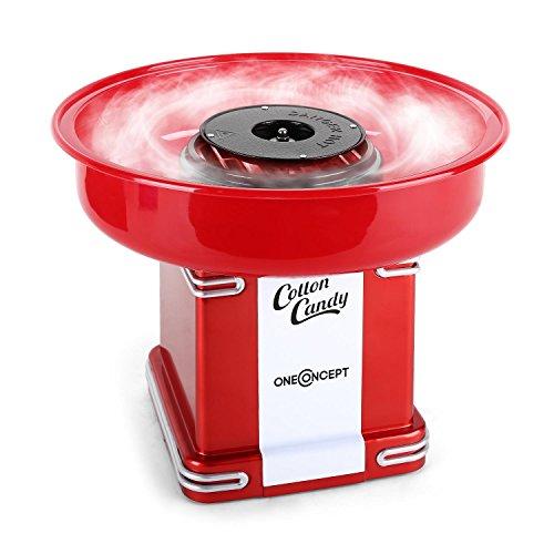 oneConcept Candyland • Retro-Zuckerwattemaschine • Zuckerwatte-Automat • 500 Watt Heizleistung • Auffangbehälter • 31 cm (Ø) • Auffangbehälter-Höhe: 7 cm • Zuckerwattestab • rot
