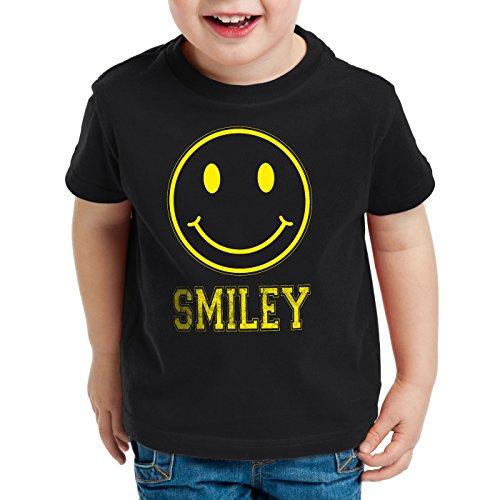 style3 Smiley Face Kinder T-Shirt Emoji Gamer Kostüm, Farbe:Schwarz;Größe:140