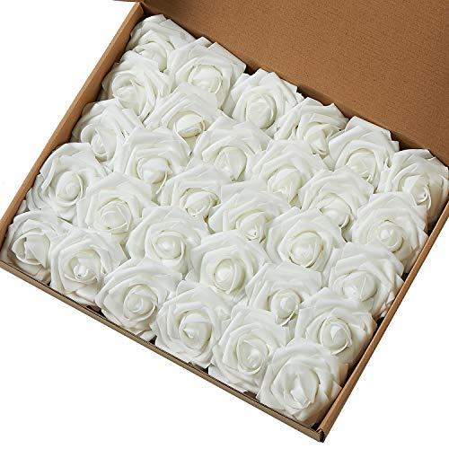 Marry Handeln Künstliche Blumen Rose, 30Stück Echte Touch Künstliche Rosen für Heimwerker Sträuße Hochzeit Party Baby Dusche Home Decor weiß