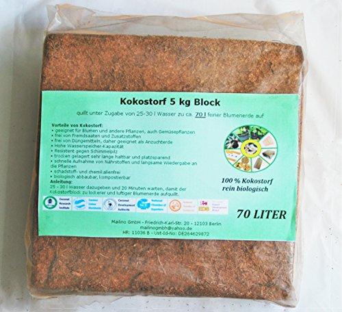 Kokos-block (70L Kokoserde - 100 %ige Kokoserde aus Sri Lanka - geeignet für Garten- und Topffplanzen - torffrei - einfache und schnelle Aufbereitung - biologisch abbaubar, kompostierbar und schadstoff- und chemikalienfrei)