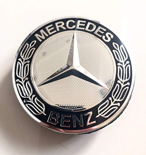 Felgendeckel Radnabenkappen Couvercle de jante Mercedes Benz 4 x 75 mm Moyeu Couvercle Moyeu Jante Lot de 4 enjoliveurs Capuchons Bouchons Capuchons de moyeu Wheel Caps Chrome/Noir