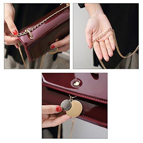 Milya Neue Lackleder Handtasche Schultertasche Umhängetasche Tasche Messenger Schulter Mini Tasche mit Metallkette Schwarz Weinrot