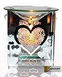Brule Parfum Coeur en verre Parfumée Yankee Candle Brûleur de cire à bougie porte-bougie pour bougie Chauffe-plat
