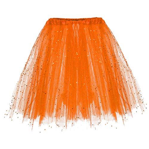WOZOW Damen Tüllrock Einfarbig Pailletten Dancewear Performance Röckchen Tutu Cosplay Party Karneval Fasching Frauen Kostüm Abendkleid (Einheitsgröße(Taille:50-110cm),Orange)