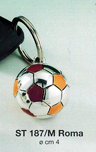 Portachiavi pallone squadra calcio roma d cm4 laminato argento made in italy