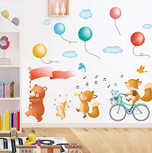 CczxfccCartoon Tiere Parade Durch Die Straße Wandaufkleber Gesang Der Song Musik Aufkleber Abnehmbare Pvc Wasserdicht Für Kinderzimmer