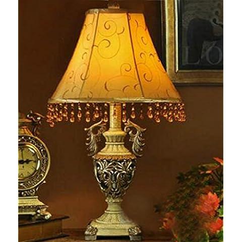 KHSKX Lampade da comodino retrò soggiorno camera da letto, orologio al quarzo, lampada da scrivania di studio esclusivo e caldo tessuto