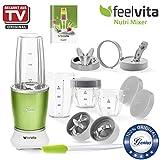 Genius Feelvita Nutri Mixer | Grün | 14 Teile | Stand-Mixer | Smoothie-Maker | Mixen & Rühren | 23000 UpM | 600 Watt | 1 Liter | TV-NEU