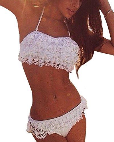 Minetom Damen Sommer Elegant Lace Bikini-Sets Strand Schwimmanzug Padded Swimsuits Neckholder Zweiteilige Push Up Badeanzug Bademode Weiß DE 36 (Marine-blau-gurt)
