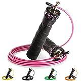 ZenRope - Speed Rope Springseil Sport mit Kugellager mit GRATIS E-BOOK | Extra-Stahlseil, Tasche & Einstiegsguide | Rope Skipping Seil High Speed Workout Springschnur (Pink)