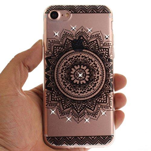 iPhone 7 Plus 5,5Zoll Hülle,iPhone 7 Plus Silikon Schutzhülle,TOYYM Ultra Dünn Transparent Weich Flexibel TPU Bumper Gel Glizter Diamant Silikonhülle Backcover,Retro Muster Design Clear Crystal Durchs Schwarze Mandala