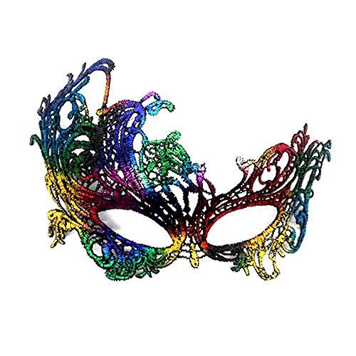 Die Phoenix Halloween Kostüm - Lumanuby 1x Bunt Vogel Spitzen Maske