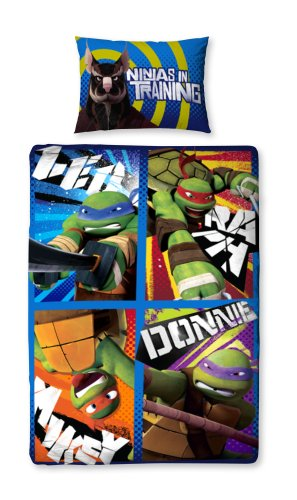 Turtle Ninja Teenage Einzelbetten (Teenage Mutant Ninja Turtles Dudes Single Bettwäsche 135x200)