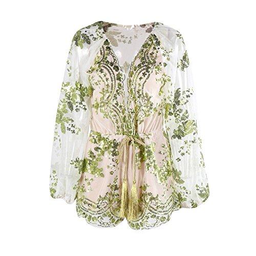 Brinny Femme Faible Encolure Sequin Manches Longues Fleur Barboteuse Vert