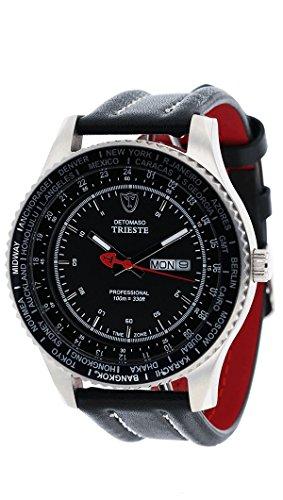 DETOMASO Trieste Herren-Armbanduhr mit silbernen Edelstahlgehäuse und schwarzem Zifferblatt. Elegante Quarz Herren-Uhr mit schwarzem Leder-Armband