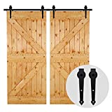 8FT/243cm Schiebetürbeschlag Set Schiebetürsystem Holztür Gleitschienen-Kleiderbügel für Doppeltüren-Sliding Barn Wood Door Hardware Kit For Double Door Arrow Shape