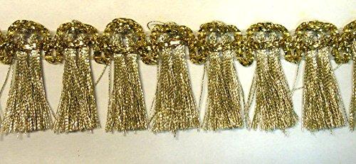 16,40m Fransen-Borte 2,5cm breit Farbe: helles Gold TSL-1427-lt.gold