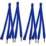 "Trainers Plastic Tips 46.5"" Long Dark Blue Flat Wide Shoe Laces Strings 4pcs"