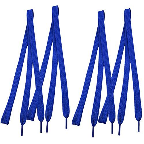sourcingmap Baskets 118,1cm Pointes en plastique long bleu foncé plat large Lacets cordes 4pièces