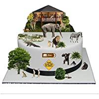 Zoo Animali della giungla scena in carta di riso commestibile Torta, perfetta per decorare Cakes- facile da usare