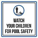 iCandy Products Inc Armbanduhr für Kinder, für die Sicherheit im Schwimmbad Spa Warnzeichen–9x 9, Aluminium, 9x9