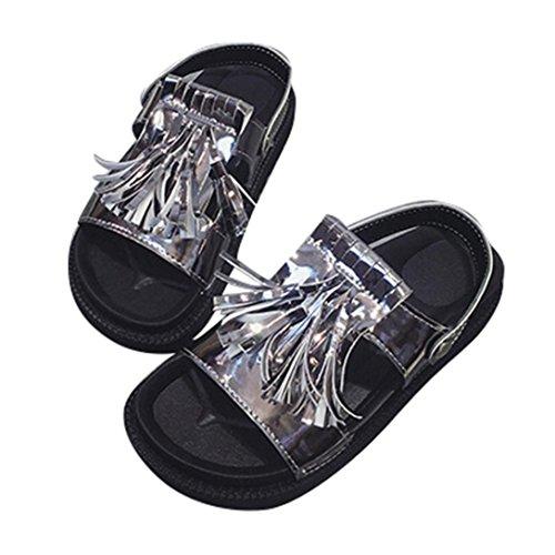 Kaiki Frauen Troddel Sandelholze beiläufige Schuhe lederne flache Peep Zehe Kursteilnehmer Schuhe Gray