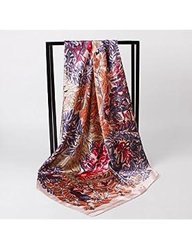 La mujer cabeza de impresión Blue Birds Silk-Satin Mantón Bufanda Fashion Square 35*35cm,Rosa