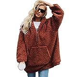 MOIKA Damen Kapuzenpullover Oversize Warme Künstlicher Wollmantel mit Kapuze Reißverschluss Sweatshirt Winter Parka Oberbekleidung
