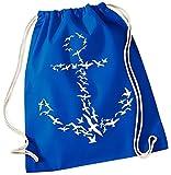 Coole-Fun-T-Shirts Möven Anker ! Gymbag BLAU Rucksack Turnbeutel Tasche Backpack für Pausenhof, Schule, Sport, Urlaub