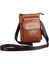 Hengwin Bolsa Messenger para Hombres Pequeño Bolso Casual de Piel Bolsa de Cintura Bolso bandolera de hombre Crossbody Bolso Bandolera pequeña Múltiples compartimentos (Marrón )