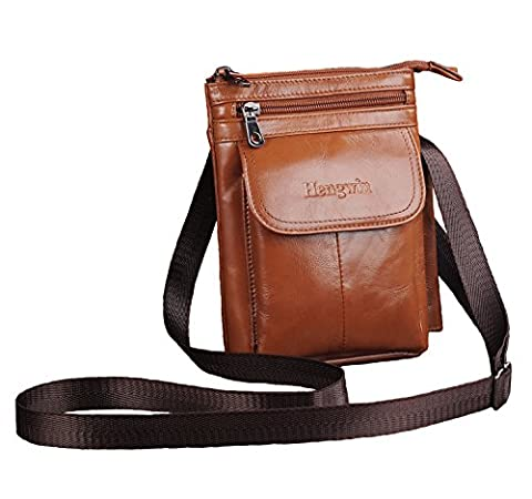 Hengying Practical Mens Leather Mini Cross Body Bag Small Mobile Phone Belt Pouch Holster Case for iPhone 7 Plus 6 Plus Galaxy S8 Plus S7 S6 Edge (Brown)