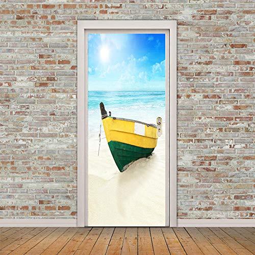 Tapeten-Wandaufkleber Selbstklebend Sticker Strandboot_3D Kreative Tür Selbstklebendes Papier Dekorative Schlafzimmer Wohnzimmer Strandboot