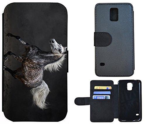 Schutz Hülle Flip Cover Handy Tasche Etui Case für (Apple iPhone 5 / 5s, 1035 Surfer Welle) 1034 Pferd Schwarz Weiß